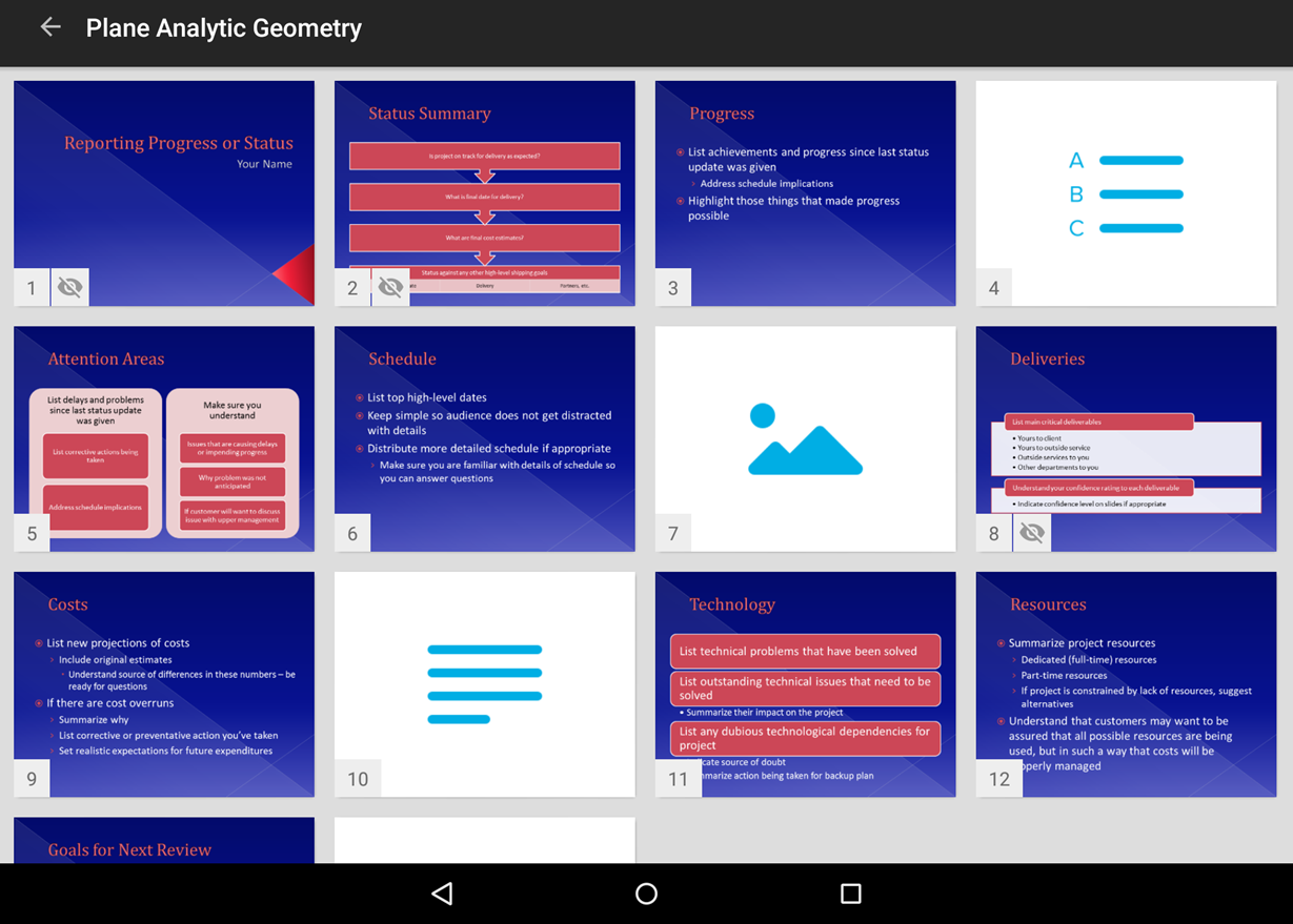 Instructor view of slide deck on mobile app with options as described