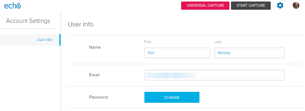 User info section of account settings page with password change button as described