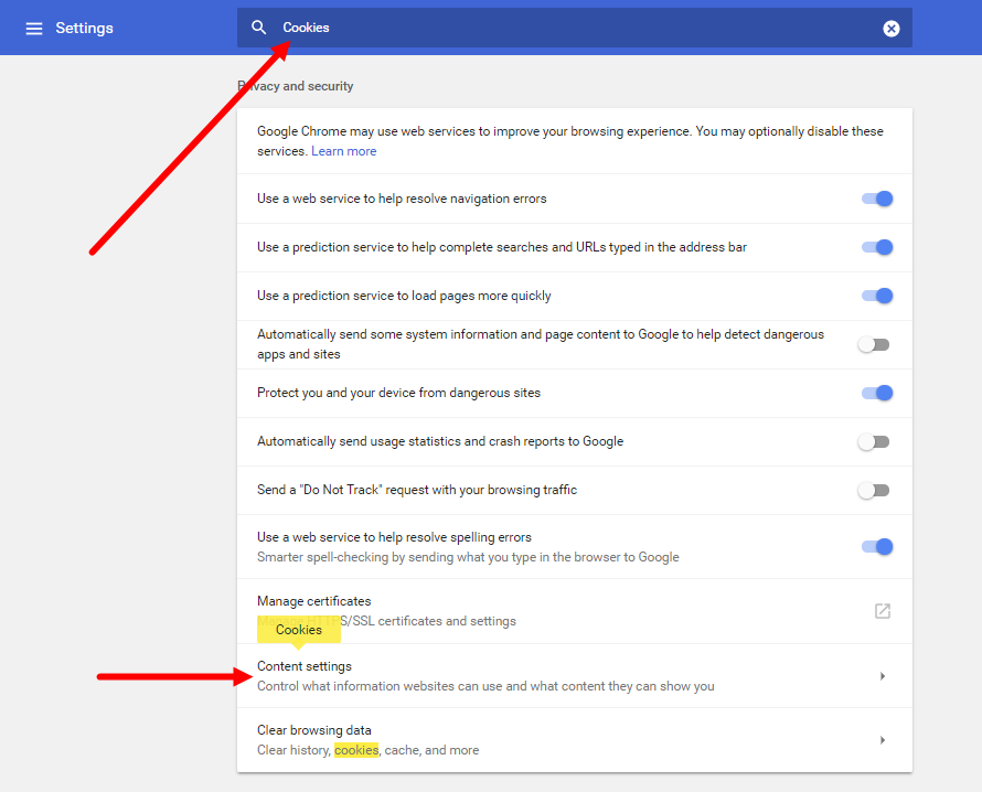 chrome settings page with search for cookies shown and content settings option identified for steps as described