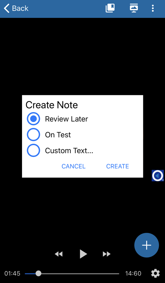 create note dialog box in classroom with preconfigured text and custom text options