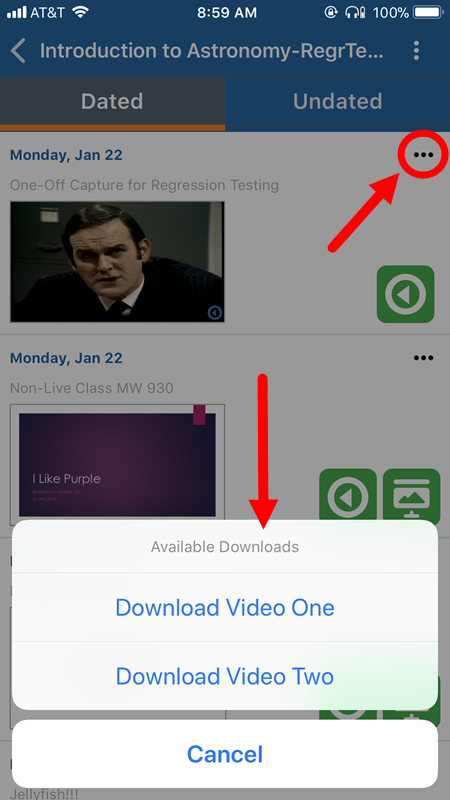 Class menu button identified with download options shown as described