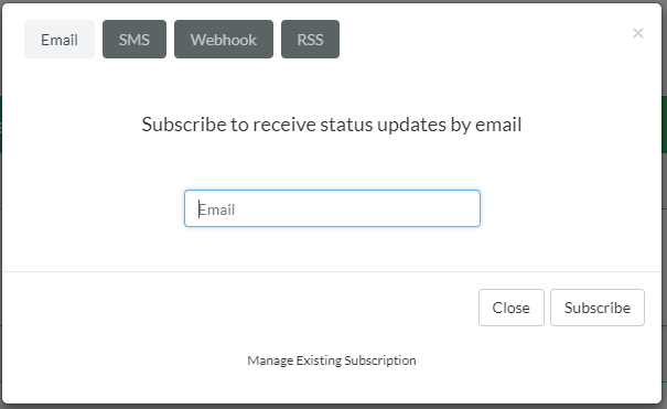 Subscription methods and email address input