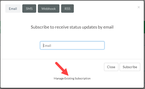 Subscription modal with focus on the 'Manage Existing Subscription' link