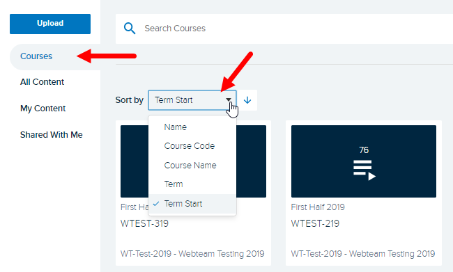 Courses page with sort selections showing options as described