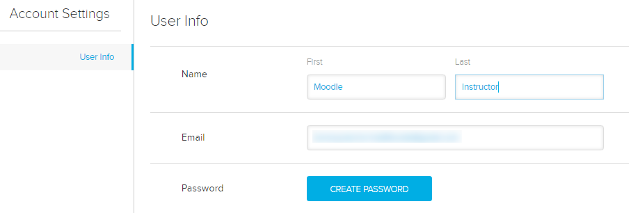 user info section of account settings page with create password button as described