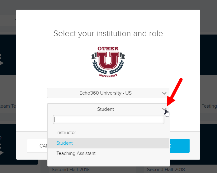 Select institution and role modal with role drop-down open for selections as described