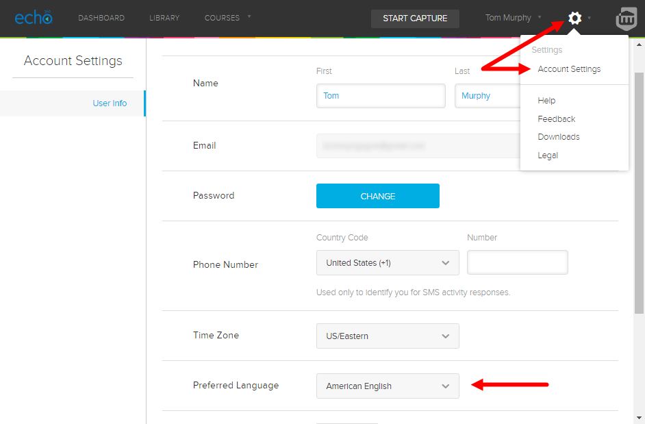 preferred language selection on account settings page as described