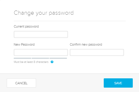 Change your password dialog box with fields as described