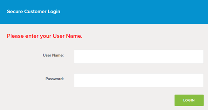 Login section as described