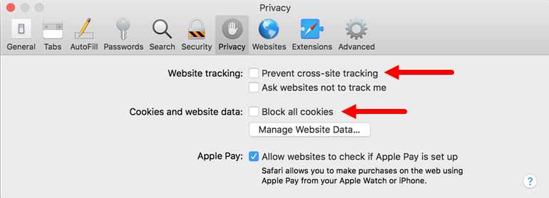 Safari 11 preferences with Privacy tab shown and options to disable identified