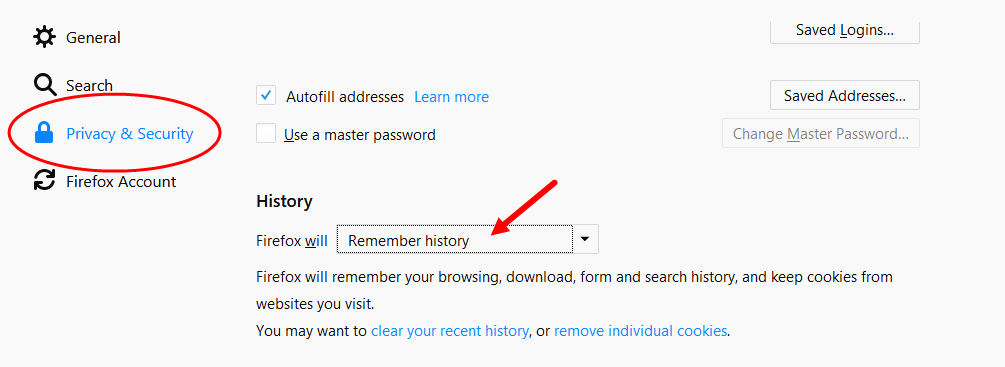 Firefox Privacy and Security page selected showing default history setting as described