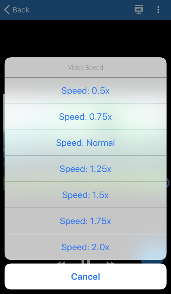 Speed setting options for playback for selection as described