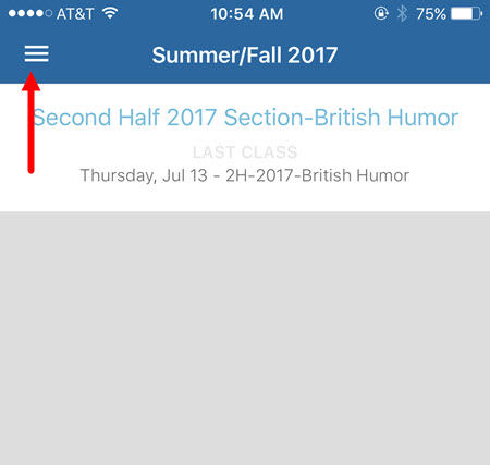 iOS app with menu button identified as described