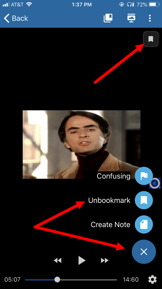Classroom with video showing a bookmarked scene and unbookmark option identified as described
