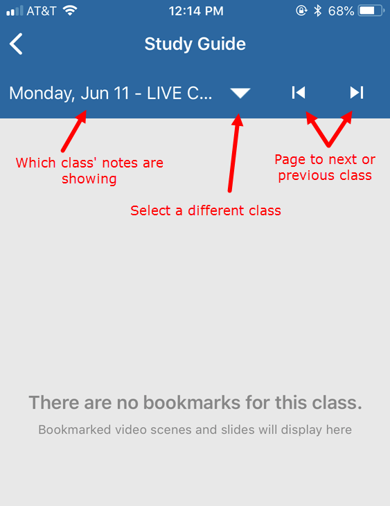Study guide open to class with no notes and navigation to other classes labeled as described