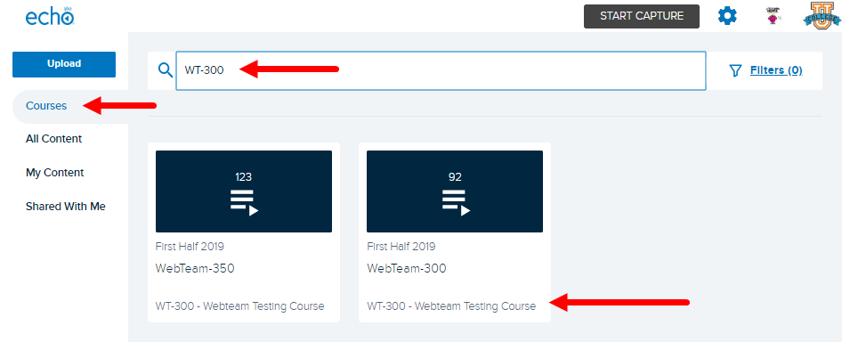 Home page with courses selected and search course number text entered as described