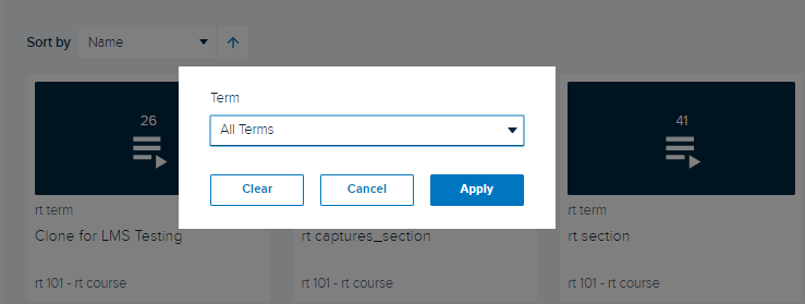 Term Filter for courses page with options as described