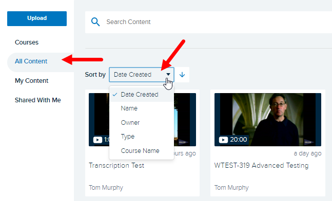 Echo Home Content page with Sort by drop down open showing options