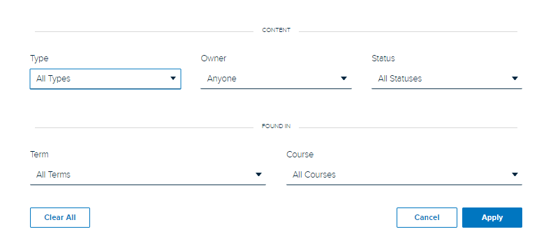 Content Filters panel with filtering options shown as described