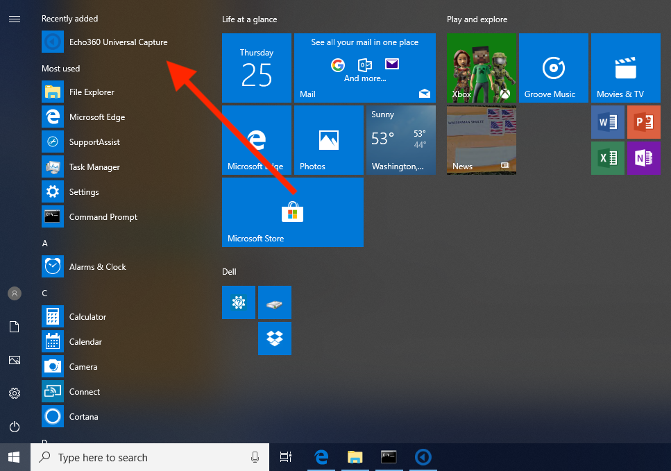 Windows Start Menu with Universal Capture application shown as described