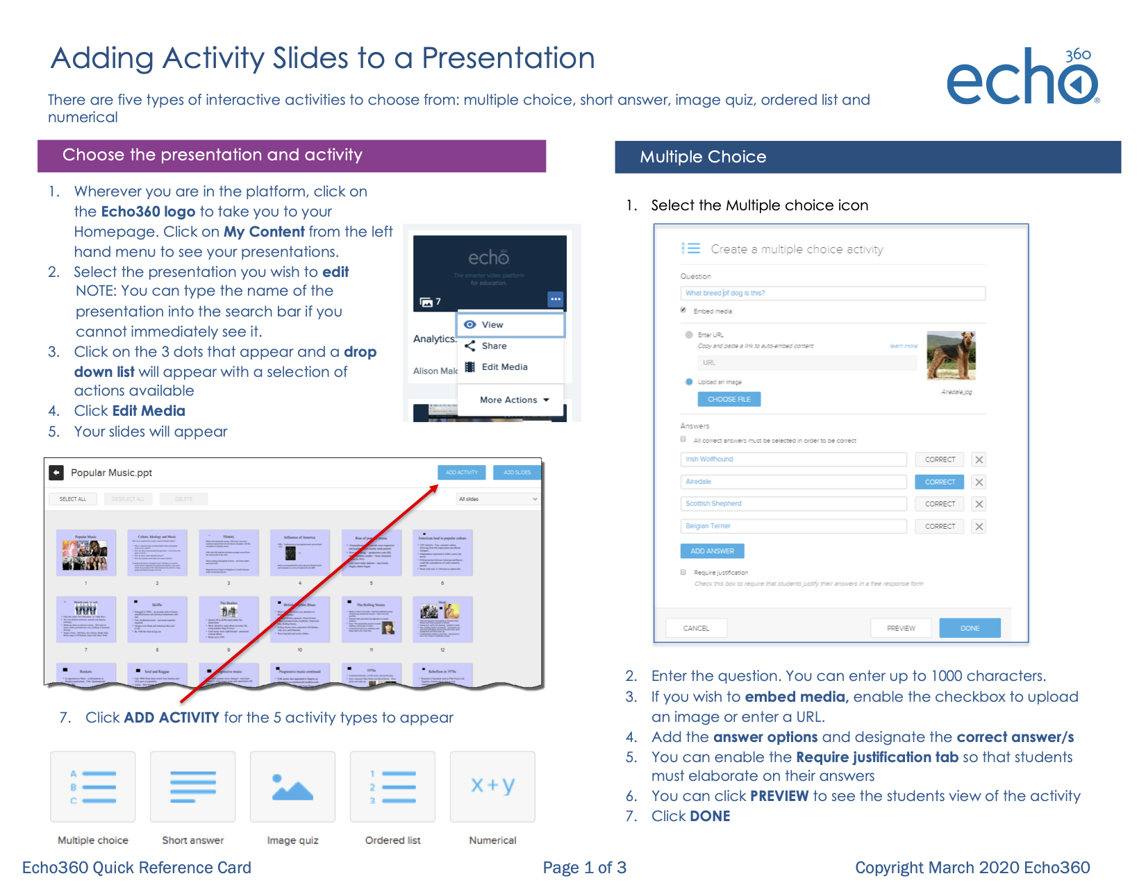 Page 1 of Adding Activity Slides to a presentation Quick Reference Card