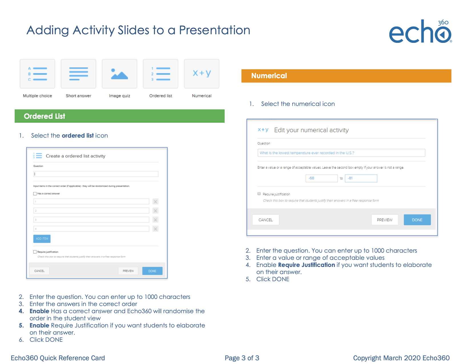Page 3 of Adding Activity Slides to a presentation Quick Reference Card