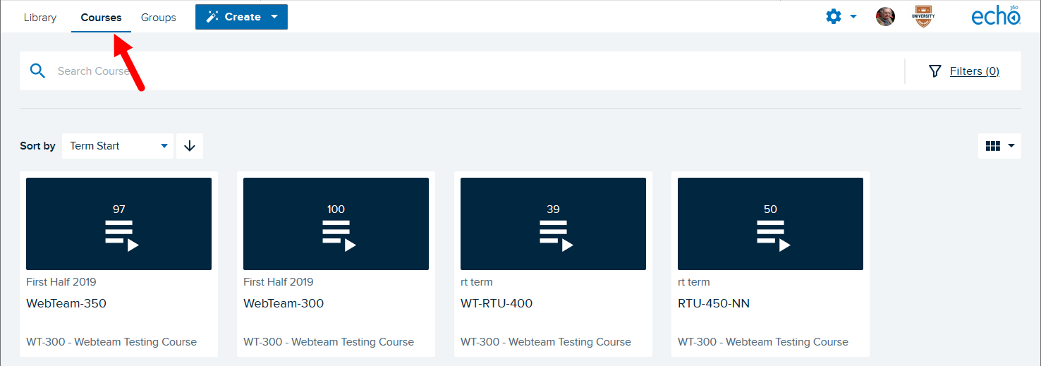 Courses page with course tiles shown containing information as described