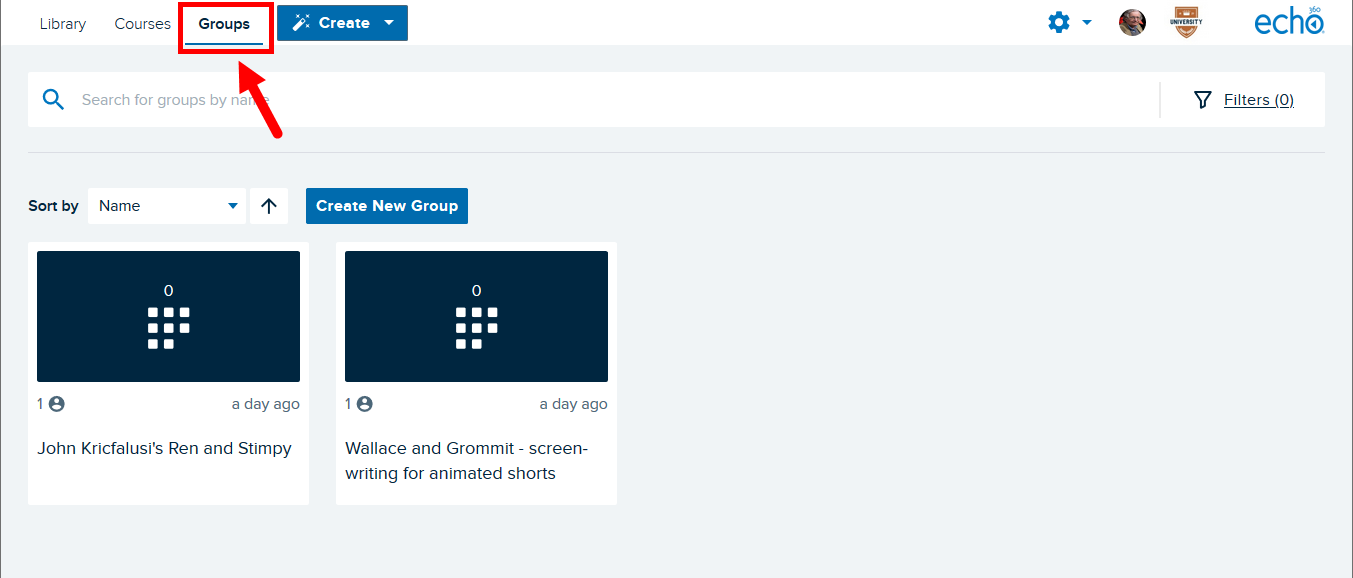 Groups page with navigation identified for steps as described