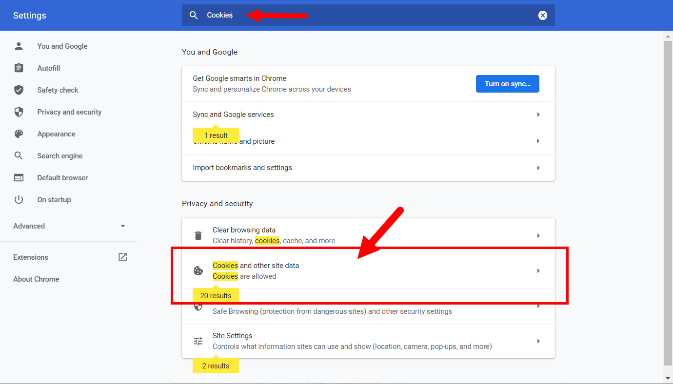Chrome settings page with cookies in the search box and matching results identified on the page for steps as described