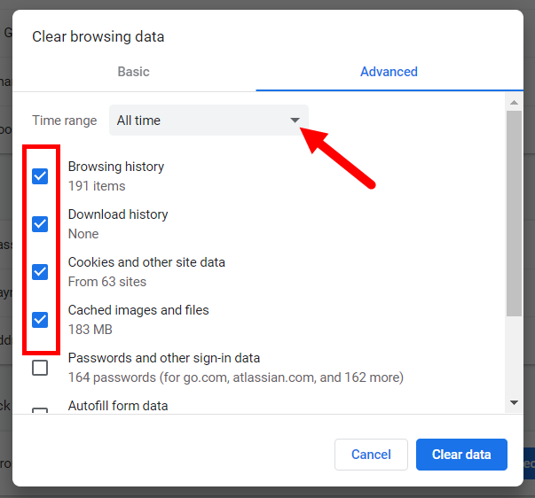 Chrome Clear browsing data dialog box with time-frame drop-down list identified and items to clear checkboxes selected as described