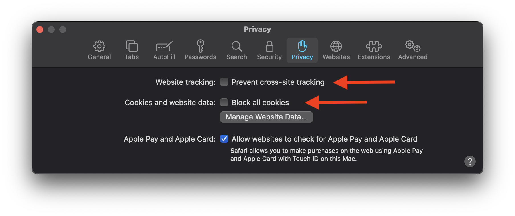 Safari preferences with Privacy tab shown and options to disable identified