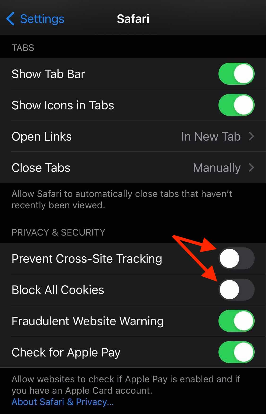 Safari Settings in iOS as described